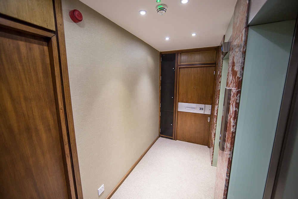 Bilton Towers apartment entrance door