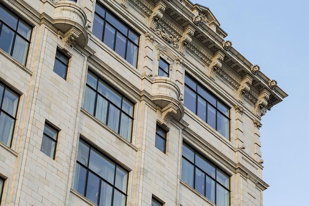 The Savoy, Strand, London, WC2 close up of stonework
